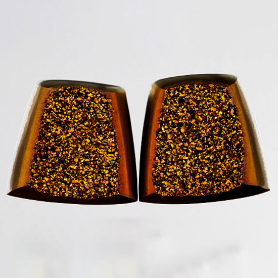 Weeping Willow Sparkling Bronze Druzy Pair