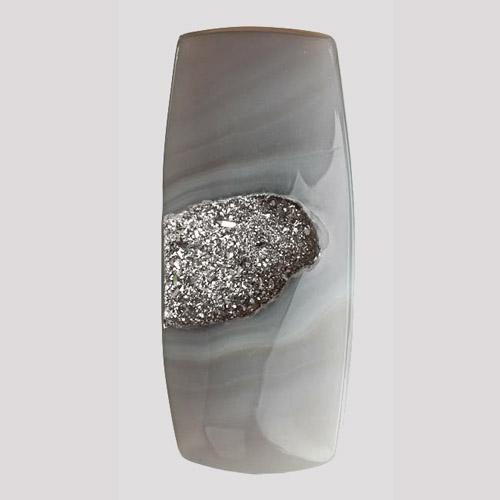 Platinum Druzy on Agate