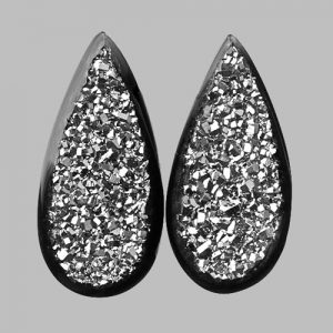 Platinum Druzy and Black Onyx Pair