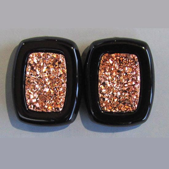 Top-Drilled Rose Gold Druzy Pair