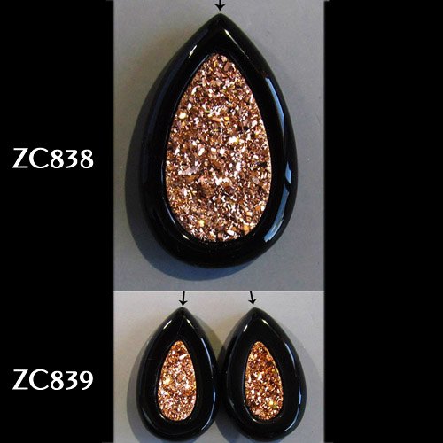 Top-Drilled Rose Gold Druzy Pair