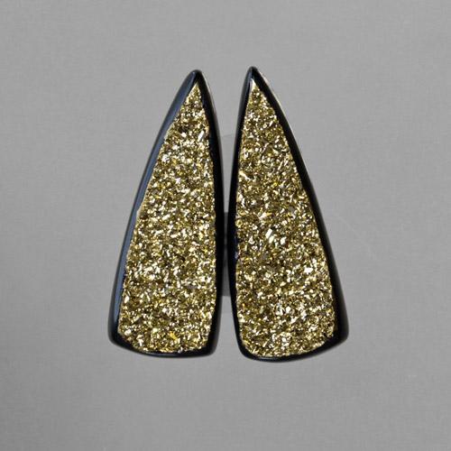 18kt Gold Druzy Pair